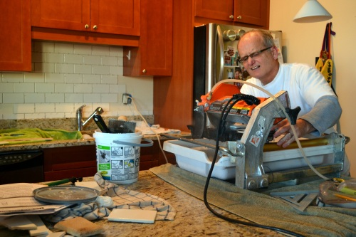 Dad and wet tile saw